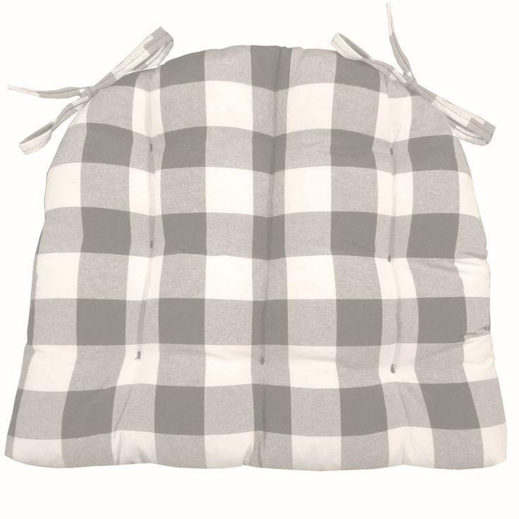 Vignette Grey dining chair pads are made in a big buffallo check plaid with checkers of 1.5 inches in soft shades of gray. Contemporary Décor.  #grey #checkers