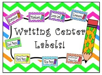 Colorful chevron writing center labels great for classroom organization! Simply print and laminate for durability and label your materials to organize your writing center!