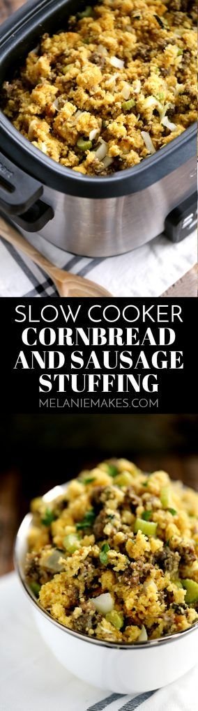 This Slow Cooker Cornbread and Sausage Stuffing knocks the socks off anything you'd buy from a box at the grocery store, yet is just as easy to prepare.  Cornbread, sausage, celery, onion and sage are are the stars of this Thanksgiving staple that's cooked in your slow cooker to free up valuable oven real estate.