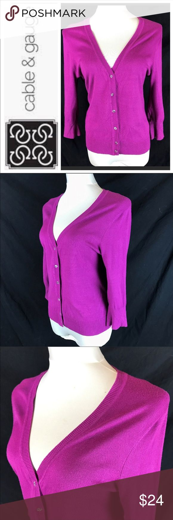Cable & Gauge Magenta Pink Crystal Button Cardigan Sweater is in great used condition with minimal pills and no stains  Measurements taken laying flat   Bust- 19  Sleeve- 18  Length- 24  Item # 12-28-17 Cable & Gauge Sweaters Cardigans