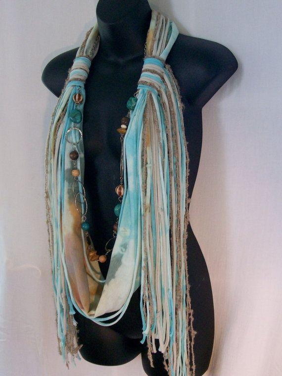 Tie Dye Infinity Necklace Beads Scarf Fringe Knotty