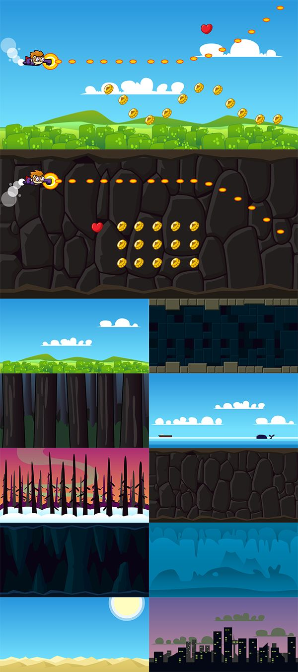 Side Scrolling Game Backgrounds. Suitable for side scrolling shooter and platformer games.  Included 10 backgrounds for your next project. Hills, desert, ocean, jungle, snow, catacomb, cave, underwater, city, and ruins.  http://graphicriver.net/item/side-scrolling-game-backgrounds/7513749?ref=hamdirizal