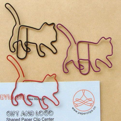 Metal Cats Bookmarks Wire Art Paperclips School Office Stationery 5PCS NEW