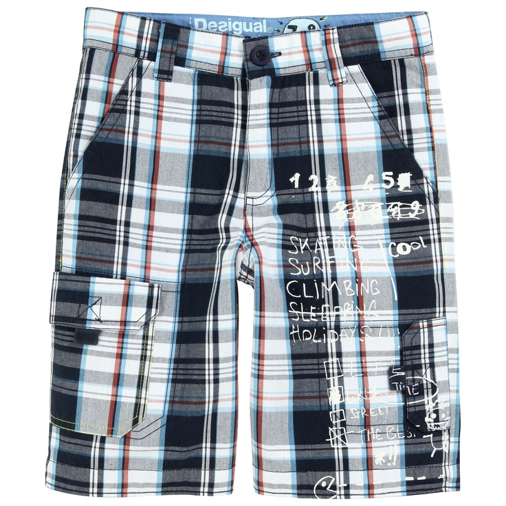 Straight cut bermudas with yarn-dyed navy blue, white and orange checks. Adjustable waistband with an inner buttoned elastic strap. Zip fly. Front and back pockets. Two velcro pockets on the legs.
