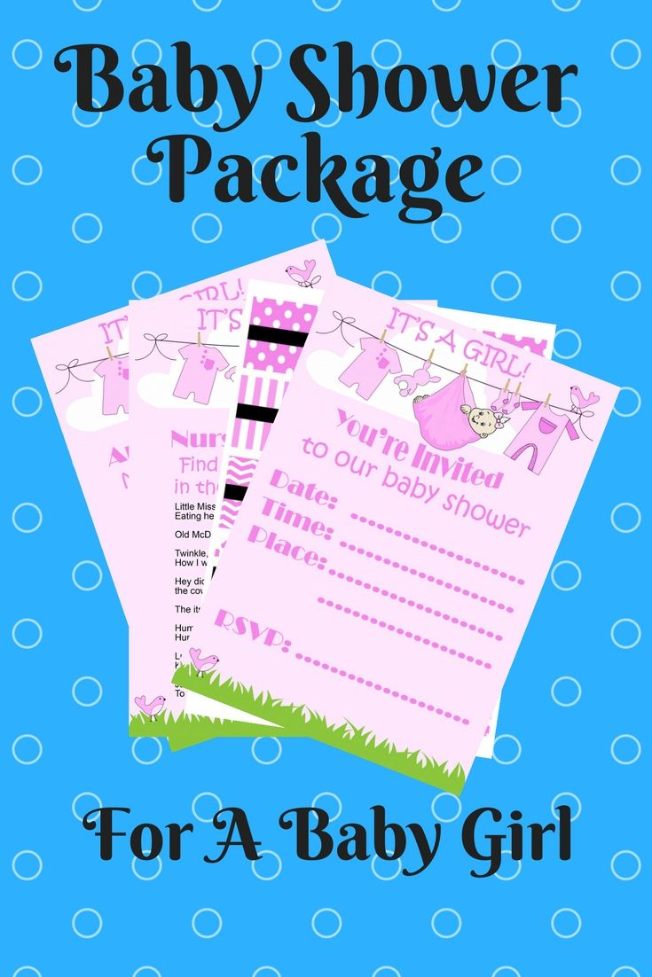 Baby Shower Package Printables Baby Girl Pink Invitations Games