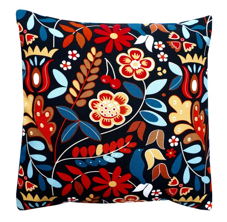 Scandinavian Floral Cushion Cover - Bright Floral - Home Decor - Decorative Cushion - Pillow Covers - TIGERÖGA Multicoloured Navy by BespokeHomeCo on Etsy
