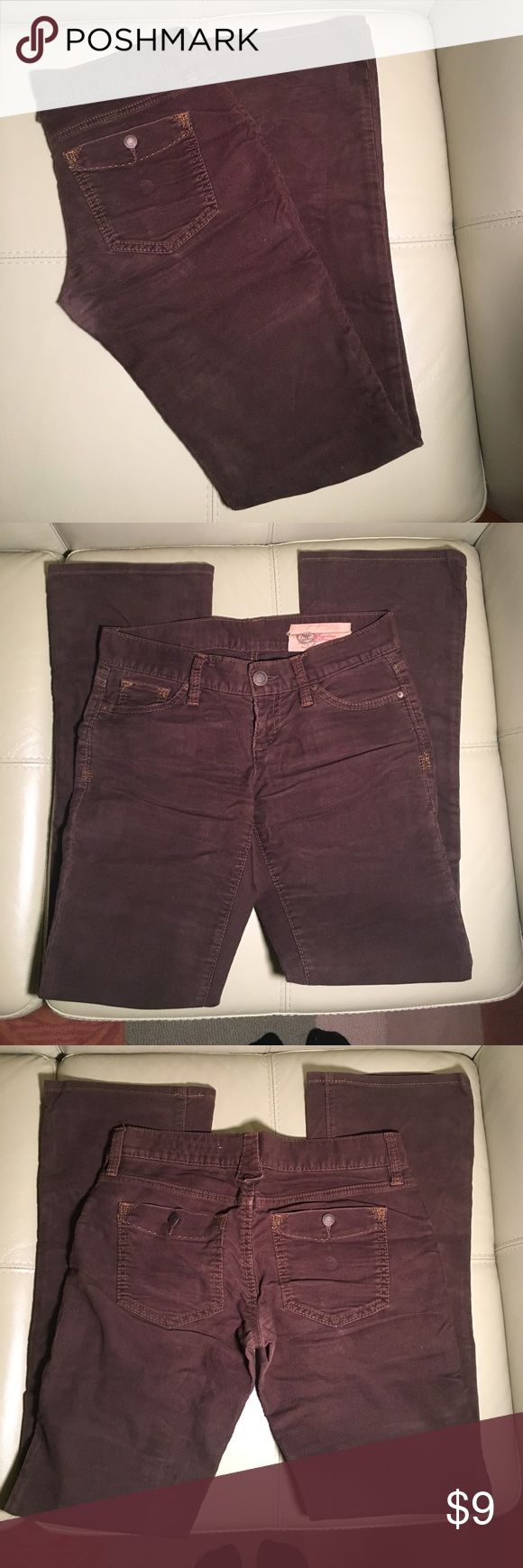 """1969 GAP Limited Edition Brown Cords - Sz O Reg 1969 GAP Limited Edition Brown Ladies Cords w/Slight Bootcut - Sz 0 Reg  ** WILL combine shipping for multiple purchases **  Fabric:   65% Cotton/33% Polyester/2% Spandex Color:    Brown w/orange top-stitching Inseam: 32"""" Retail:    $98.00 NOTE: these pants are amazing fitting but have some rubbing in between the legs (no hole)  GREAT condition and ready-to-wear; NO rips, tears, stains, or foul stench.  Comes from my 100% smoke and pet FREE…"""