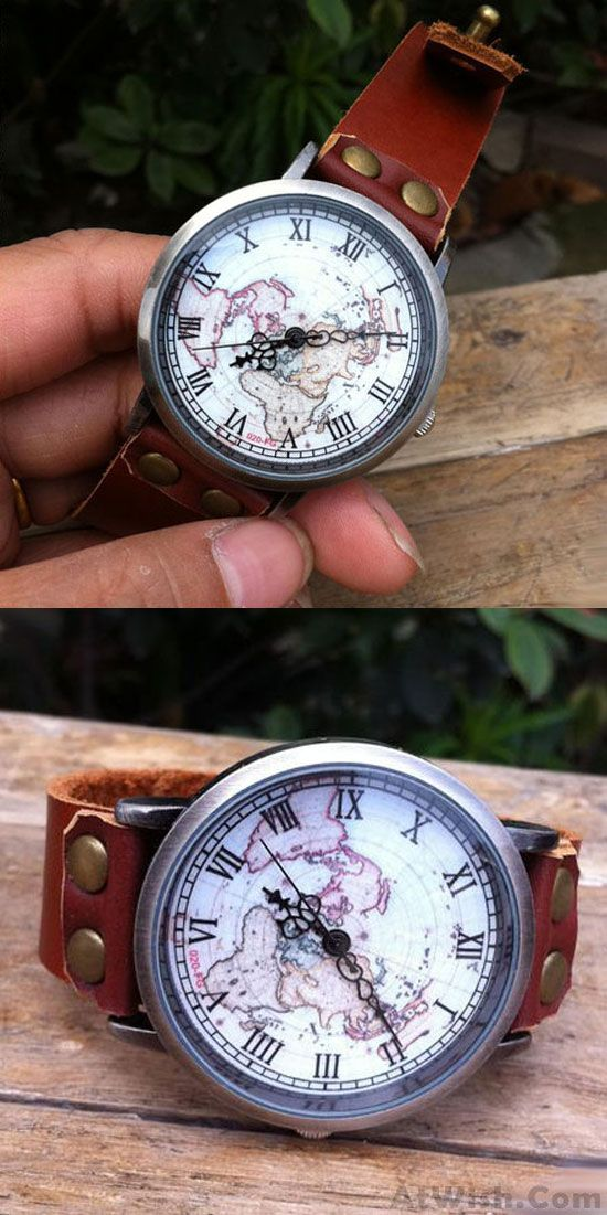 Handmade Retro World Map Leather Watch for big sale! #world #map #handmade #retro #watch