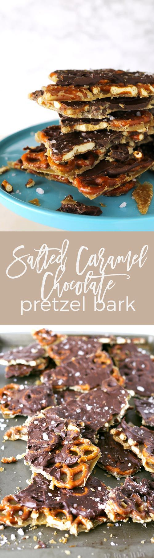 Salted caramel chocolate pretzel bark is the treat that keeps on giving. It's great for the holidays, either as dessert or as a gift! | honeyandbirch.com