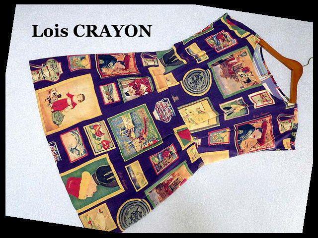 ロイスクレヨン Lois CRAYON ワンピース ノースリーブ M 紫 黄色 イエロー 絵画 ロゴ 美品 【中古】