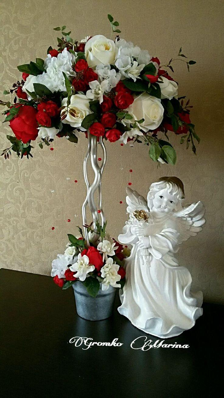 """Купить """"Любовь"""" заказ. - интерьерное украшение, топиарий, красные розы, белые розы, декор для интерьера"""