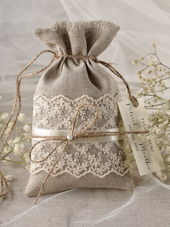 Rustic Linen Wedding Favor Bag Lace Wedding by 4LOVEPolkaDots, $1.90: