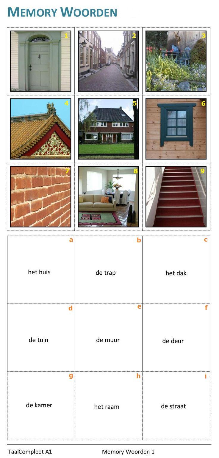 Memory woorden. Thema : het huis. Verbind de woorden met de afbeeldingen.