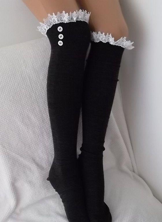 Dark Grey Socks  Boot socks boot cuffs leg by CarnavalBoutique,