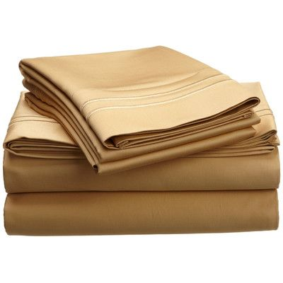 Simple Luxury Premium 800 Thread Count Egyptian-Quality Cotton Sheet Set Color: Gold / Gold, Size: Twin XL