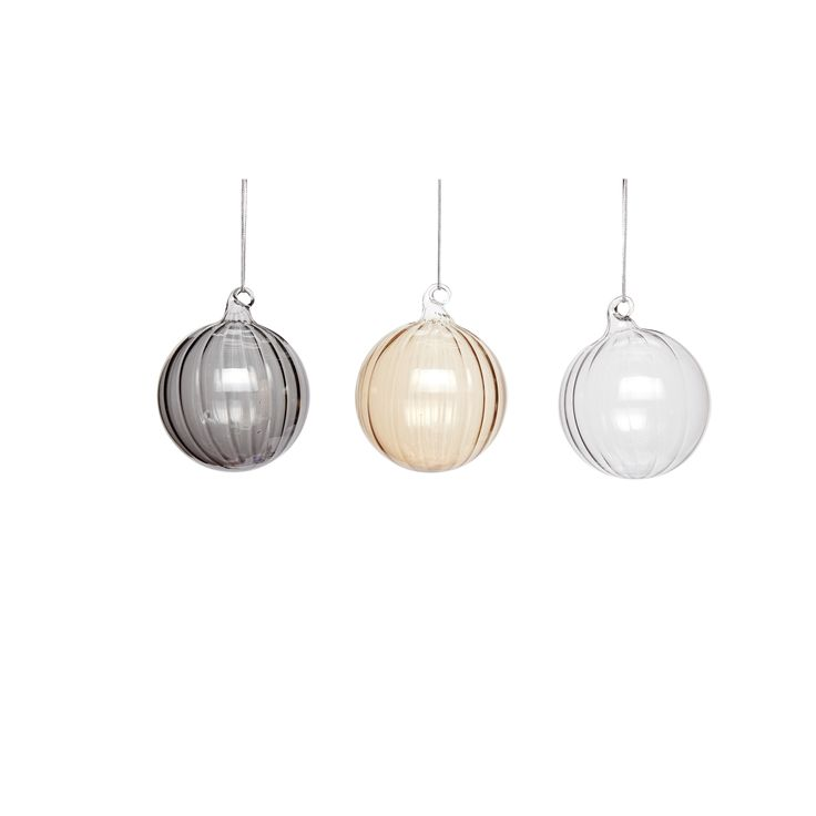 Clear, brown and grey large glass Christmas balls in a set of 3. Product number: 350302 - Designed by Hübsch
