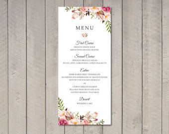 THIS LISTING INCLUDES:  One Sided Wedding Menu. The $12 fee covers the design of the menu, as well as the printable high resolution digital file (300 dpi PDF). You can use this file to print at home, through an online retailer, or at a local print shop. The size of this design is 4 X 9 or 5 x 7. We also offer professionally printed cards See below for more information.  ^*^*^*^*^*^*^*^*^*^*^*^*^*^*^*^*^*^*^*^^*^*^*^*^*^*^*^*^*^*^*^*^*^*^*^*^  HOW TO ORDER? We make it easy!  1.) Purchase the $...