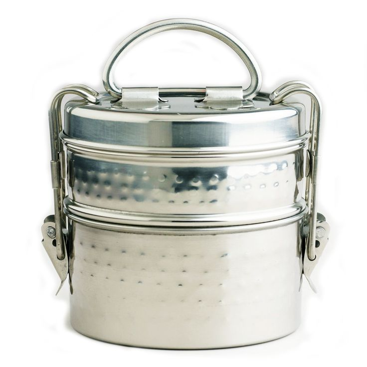 lunch boxes | This Hammered Metal Tiffin Lunch Box from India, with latched lid can ...