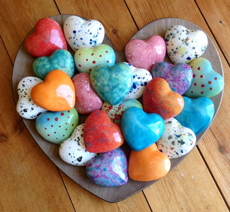 Ceramic Hearts by Earth Wool & Fire £3 each +P