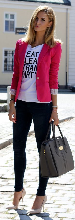 Jeans, graphic tee, pink blazer, nude heels, pink nail polish, watch, white and black bracelets