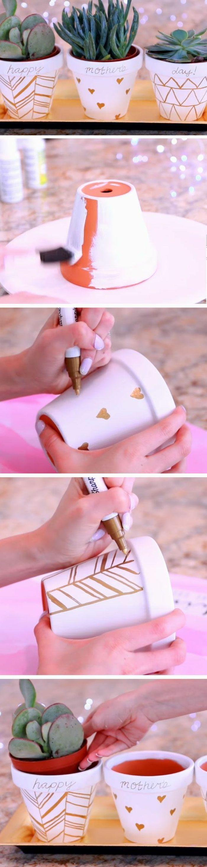 cadeau pour la fete des meres, cache pot repeint en blanc et customisé au feutre doré, dessins simples, tutoriel pot de fleurs diy