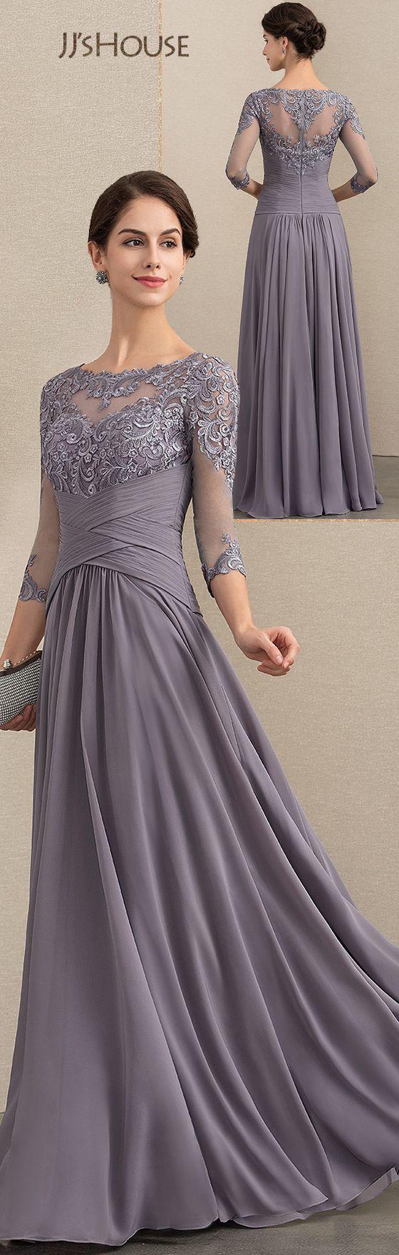 Vestidos princesa / Formato A Decote redondo Longos Chiffon Renda Vestido para a mãe da noiva com Pregueado   – JJ's House | Mother of the bride/groom dresses