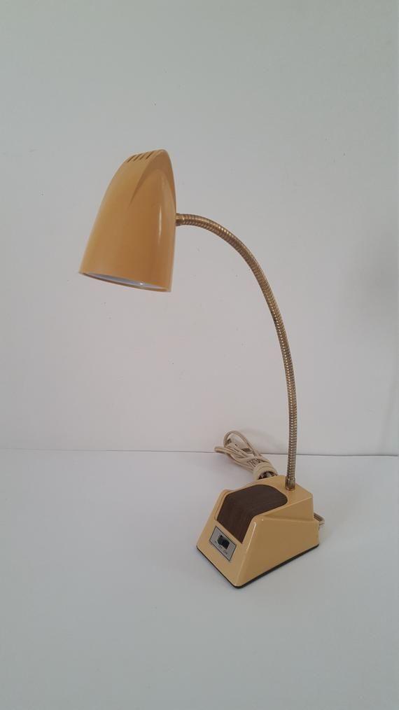 Vintage Mid Century Chrome and Faux Wood Grain Lamp