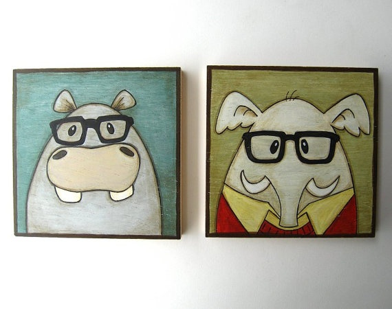 Funny Animal Portraits  Gifts for Kids Birthday by Lunartics, €50.00