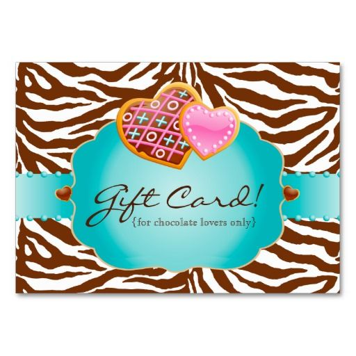 Bakery Gift Card Certificate Chocolate Blue Business Card Templates $36.95 per pack of 100!!