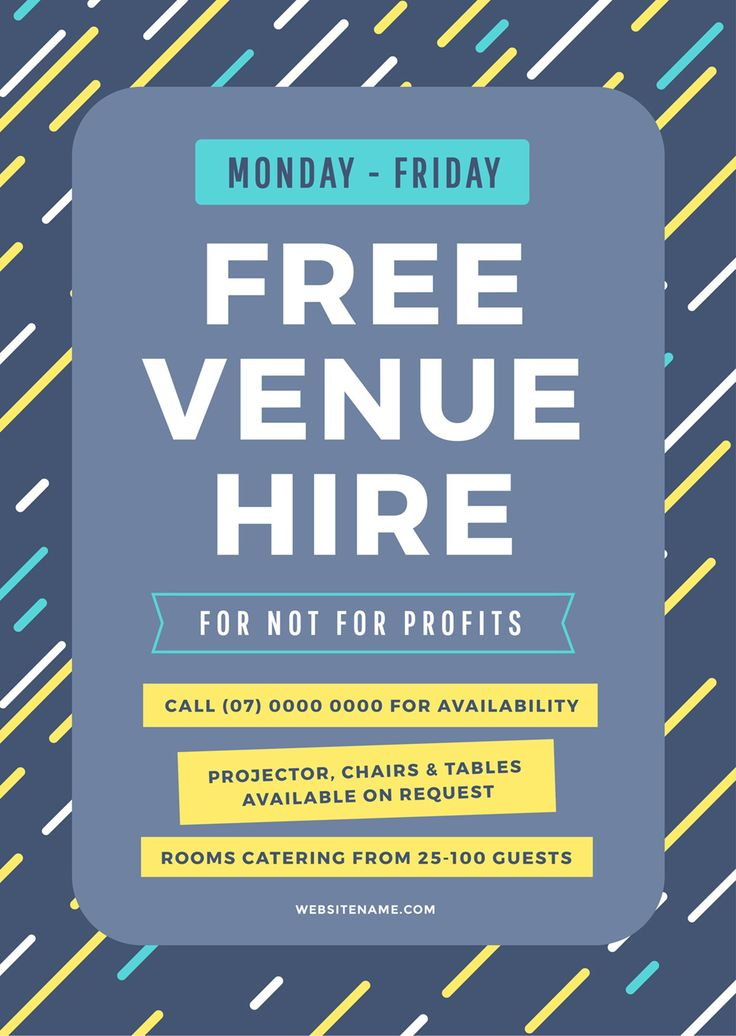 Free Venue Hire Poster - How to Get More Event Bookings at your Venue in 2018 - 21 Easy Tips
