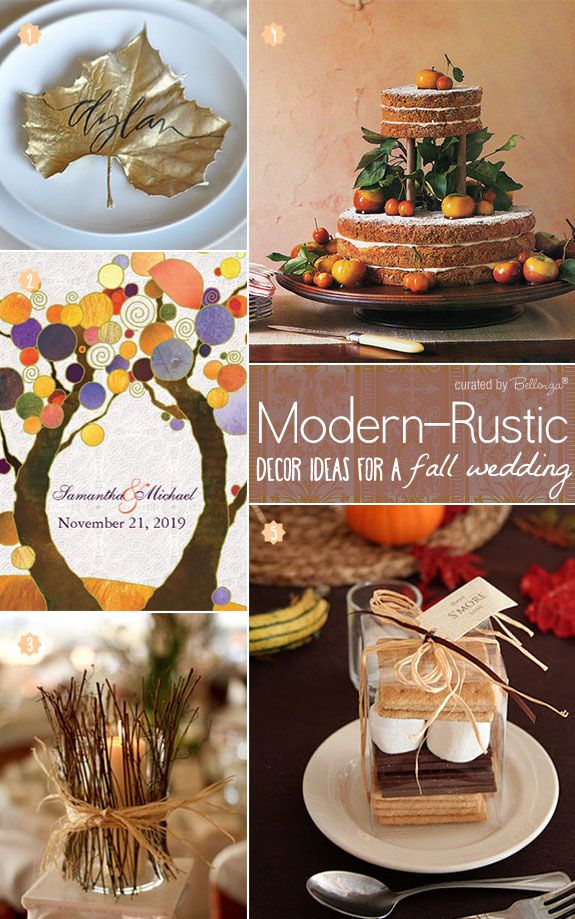 Chic Fall Decorations and Wedding Elements with a Modern Style. See all the fab finds on the Wedding Bistro at Bellenza!   #fallweddings #rusticfallweddings #fallgardenweddings