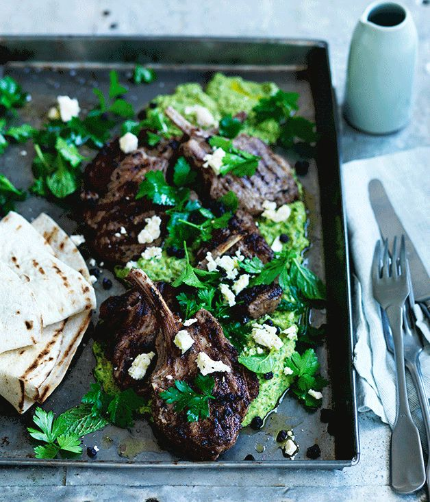 Sumac and coriander lamb cutlets with green hummus recipe :: Gourmet Traveller