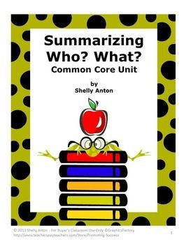 "Summarizing: Who? and What? Literacy Center Common Core Reading Strategies - This 36 page common core printable worksheet unit features 20 summarizing reading comprehension passages in which students need to identify, ""Who?"" and ""What?"" https://www.teacherspayteachers.com/Product/Summarizing-Worksheets-Task-Cards-Wh-Questions-who-what-Reading-Strategies-554079"