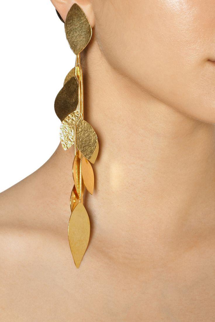 Hervé Van der Straeten|Hammered gold-plated leaf clip earrings