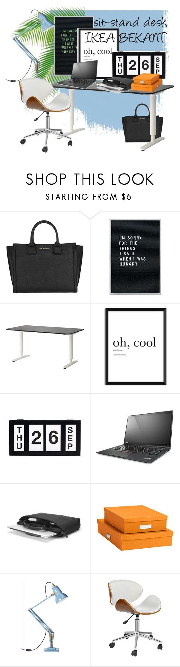 """desk"" by izostworekblogspot on Polyvore featuring interior, interiors, interior design, dom, home decor, interior decorating, Karl Lagerfeld, Lenovo, Bigso i Anglepoise"