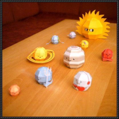 "These papercrafts are the Sun and all eight Planets of the Solar System for kids, designed by digitprop. ""Each planet has its name, diameter, distance from"