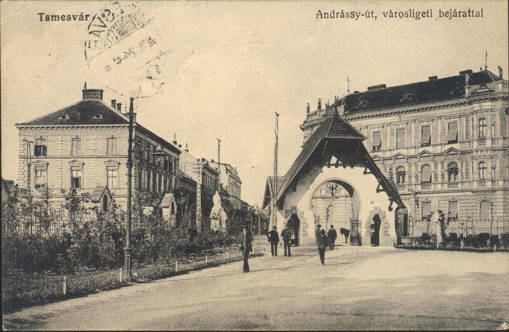 Timisoara - Intrarea in parc / Andrassy-ut, varosligeti bejarattal, 1914