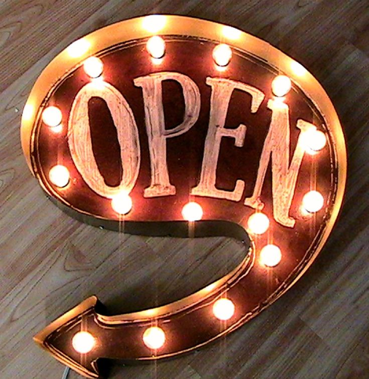 old marquee signs | Primitive Vintage Light Up Marquee Sign - OPEN