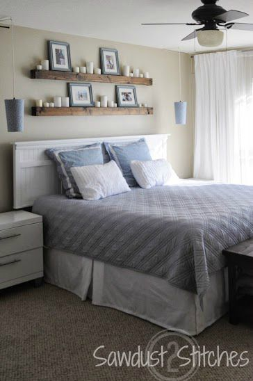 Shelves over headboard