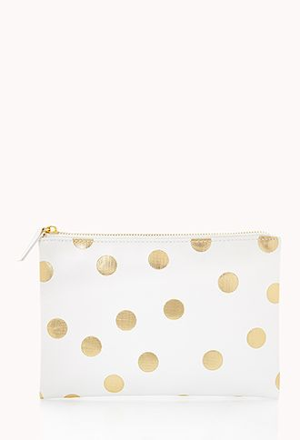 Metallic Polka Dot Cosmetic Pouch | FOREVER21 EEEKKKK!!!!! it would match my day planner!!! LOVE