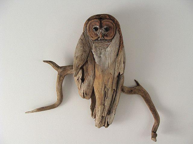 Driftwood Owl Sculpture by Vincent C. Richel, via Flickr