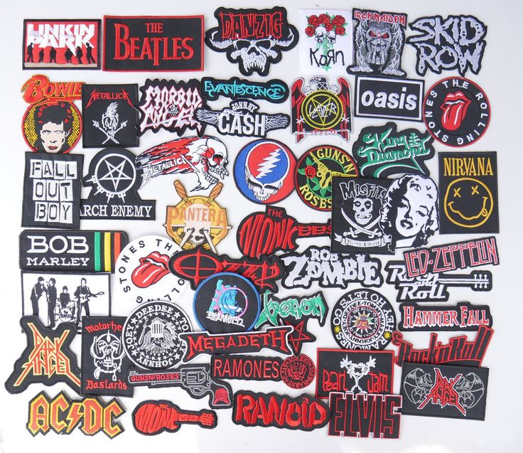 49 piece iron on patch rock band heavy metal pop punk embroidered sew appliques #Unbranded
