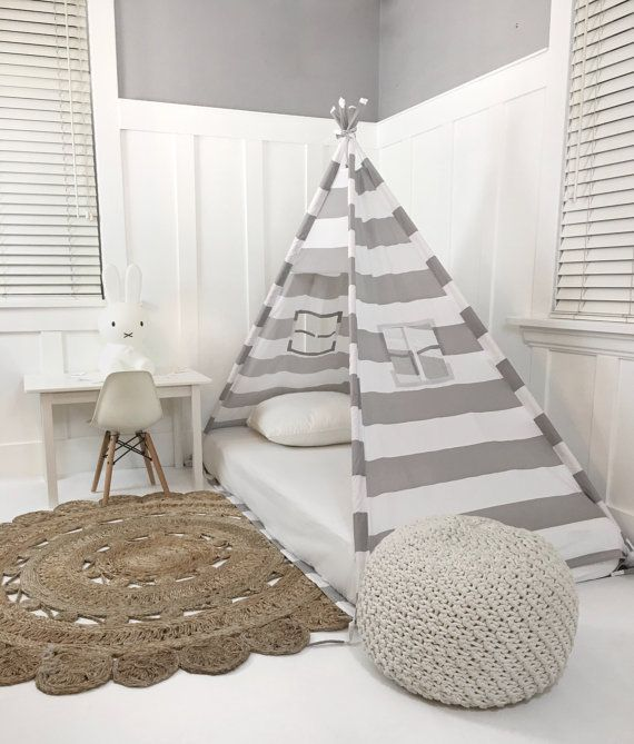 Play Tent Canopy Bed in Grey and White Stripe от DomesticObjects