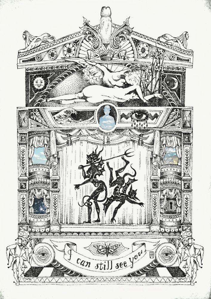 """""""TEATRO"""" - Pigment liner- Ilustración de Martillo"""