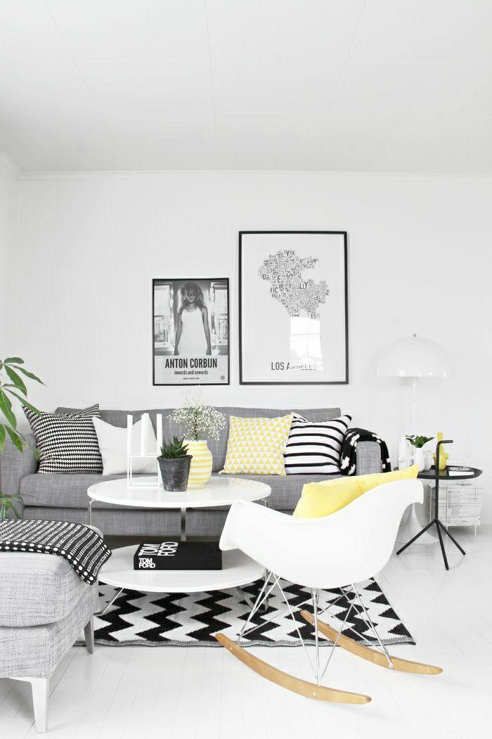 Wohnideen Wohnzimmer Einrichten Gestalten Teppich Schwarz Weiss
