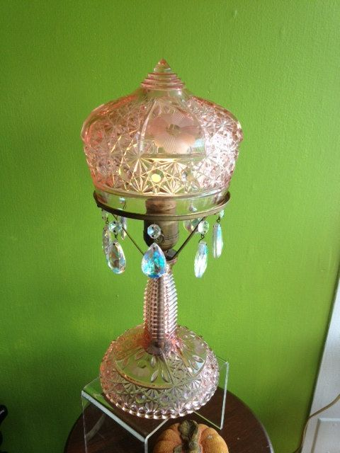 vintage pink depression glass cut crystal lamp by Bryansfinds, Etsy. 1930's