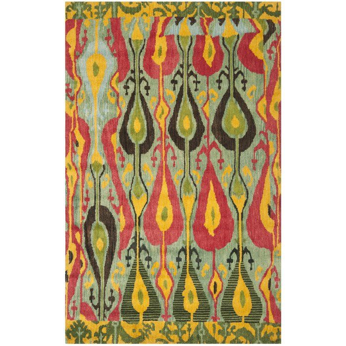 Ikat Hand Tufted Green Red Yellow Area Rug Yellow Area Rugs