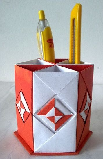 Ornament Hexagonal Pen Holder paper craft Pinterest