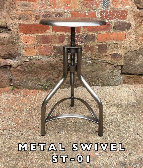 Industrial Metal U0026 Holz Barhocker Sitze Drehbar Haarnadel Beine Aus Stahl,  Eisen Küche Vintage Retro Fabrik Alt Rostig Rustikal Stil Hocker