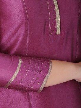 Pink Chanderi Kurta with Tissue Piping